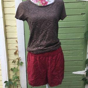 Dark Red Tencel Shorts